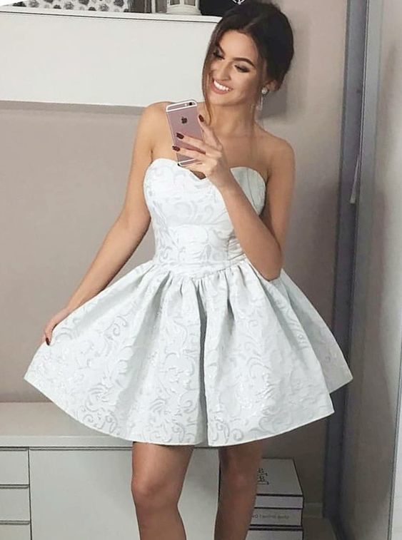 A-Line Sweetheart Short Pleated Floral Grey Satin Homecoming Dress