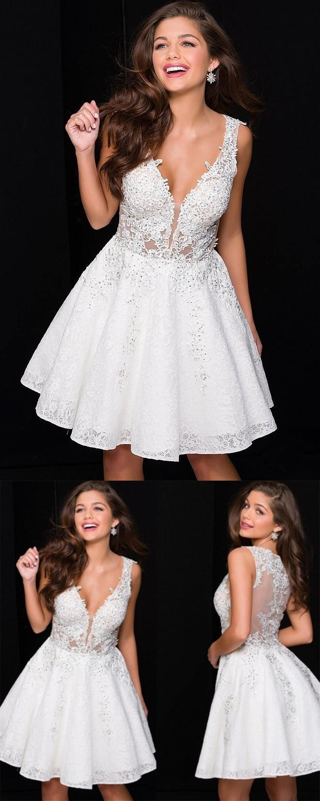 Newest Deep V-neck White lace beading homecoming dresses, short/mini prom