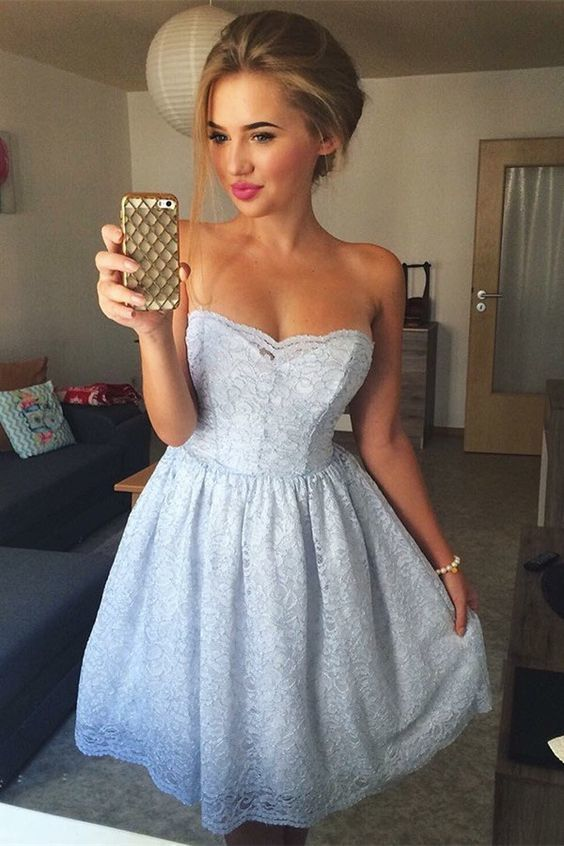 A-Line Strapless Above Knee Light Blue Lace Homecoming Dress