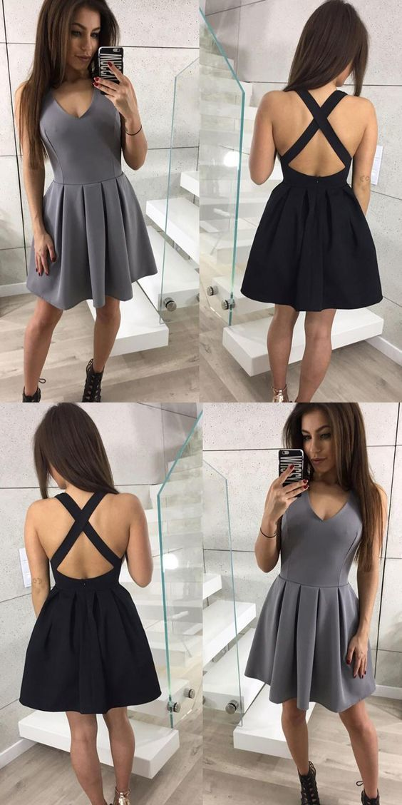 A-Line V-Neck Criss-Cross Straps Satin Little Black Dress