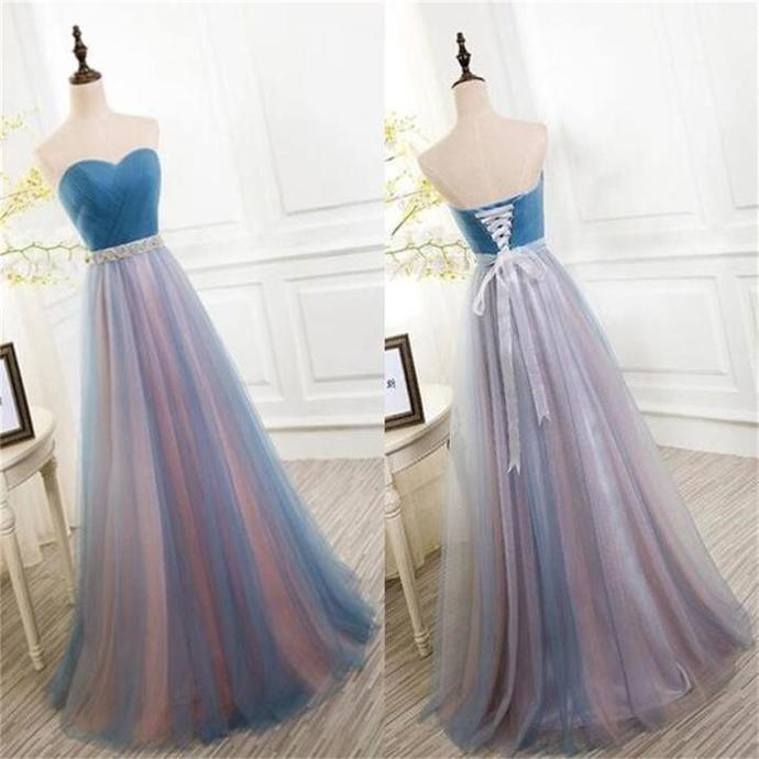Charming Tulle Prom Dress, Elegant Sweetheart Neck Prom Dresses, Long Evening