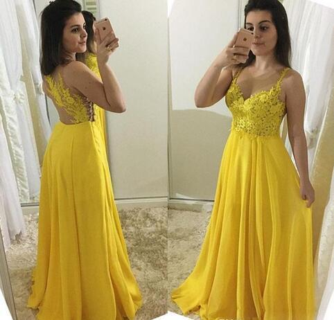 Sexy V Neck Prom Dress, Yellow Long Evening Dress