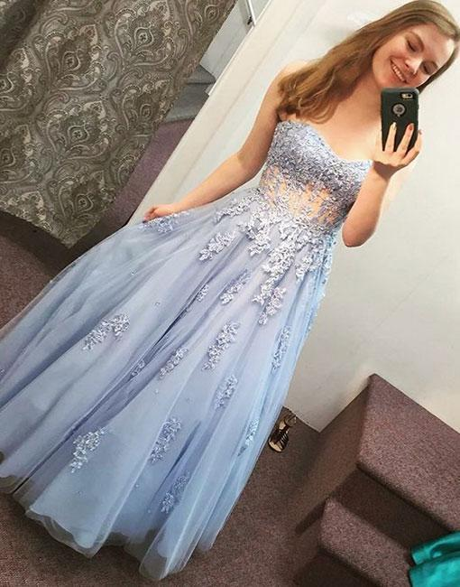 Blue Sweetheart Lace Long Prom Dress,Strapless Evening Dress,Tulle Graduation