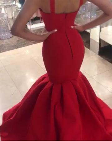 Sexy Spaghetti Straps Red Mermaid Evening Dress, Long Prom Dress