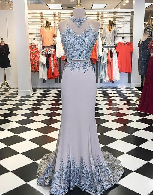 Charming Grey High Neck Lace Two-Piece Prom Dress,Applique Evening Dress