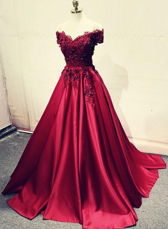 Burgundy Lace Off Shoulder Satin Prom Dress,Lace Beaded Long Evening Dress,2018