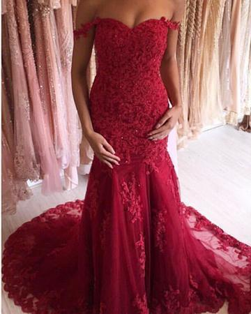 Sexy Off Shoulder Appliques Burgundy Prom Dress, 2019 Mermaid Long Evening