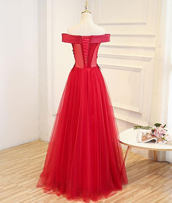 Elegant Red Applique Off The Shoulder Prom Dress,Red Tulle Evening Dresses