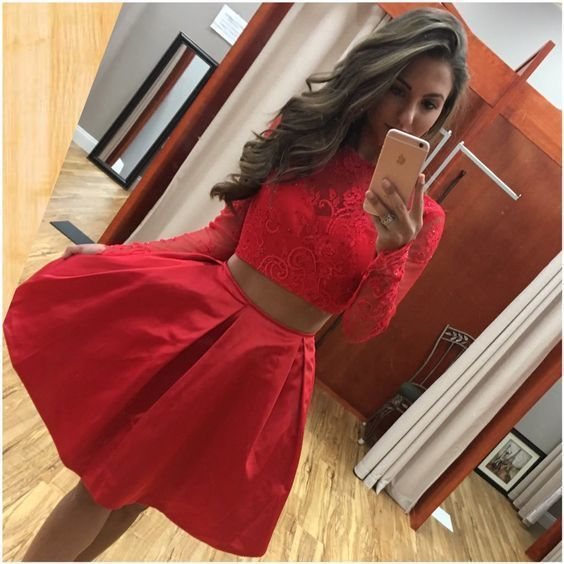 Long Sleeve Two Piece Prom Dress, Red Short Prom Gowns, Homecoming Dress