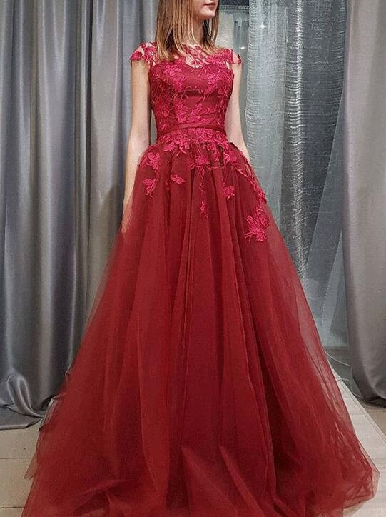 Charming Tulle Prom Dress, Cap Sleeve Appliques Prom Dresses, Long Evening Dress