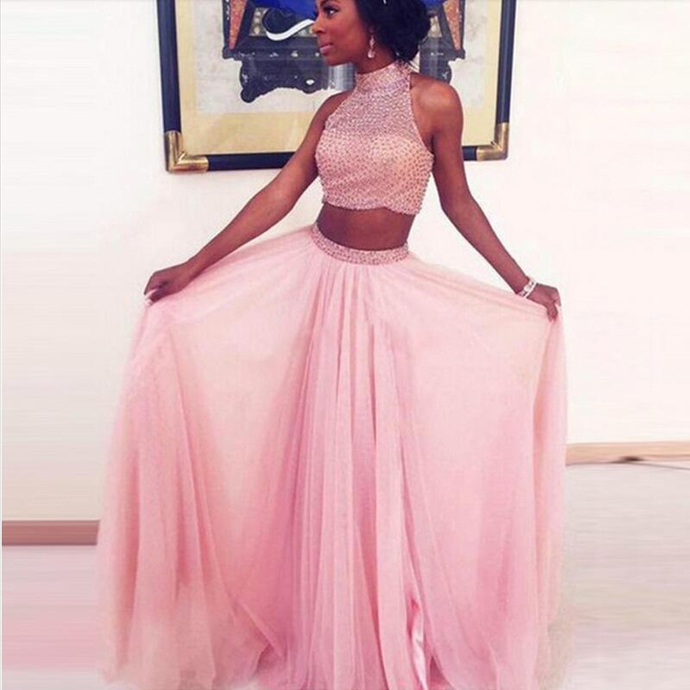 Sexy Halter Two Piece Prom Dress, Pink Beaded Long Evening Dress