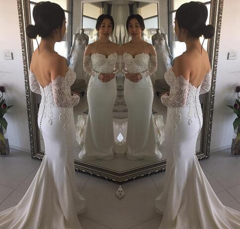 Charming Appliques Long Sleeve Mermaid Wedding Dress, Sexy Bridal Dresses