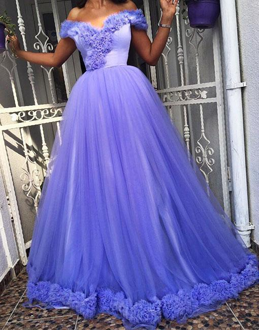 Unique Light Purple Tulle Prom Dress,Sweetheart Off Shoulder Formal Dress