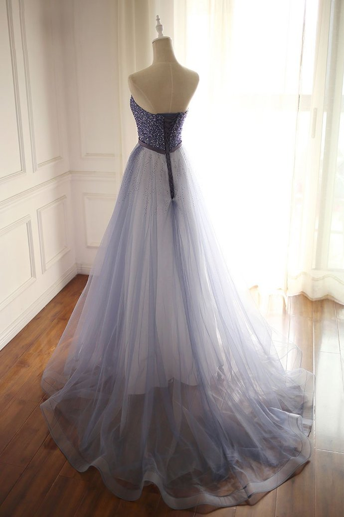 2018 Strapless Blue Beaded Tulle Prom Dress,A-Line Blue Evening Dresses
