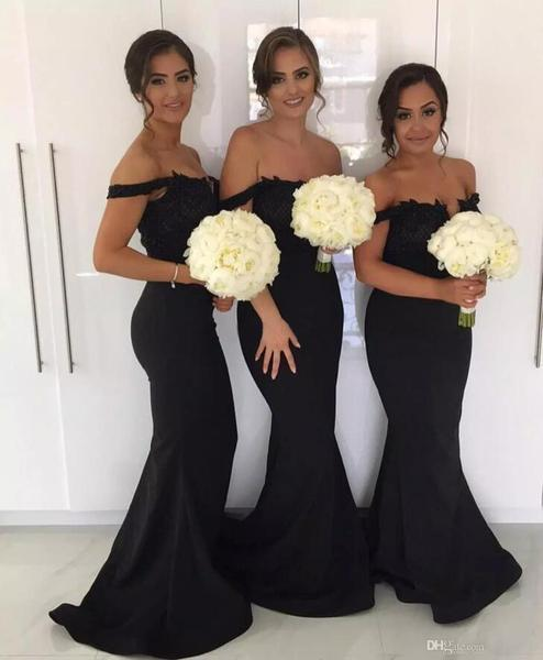 Sexy Off Shoulder Mermaid Prom Dress, Appliques Long Bridesmaid Dress