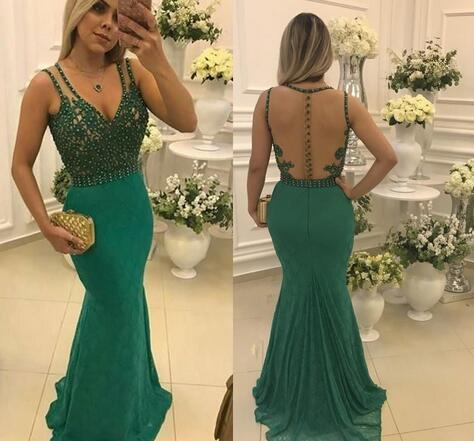 Sexy See Though Back Mermaid Prom Dress, Beaded Long Evening Dress, Formal Dress