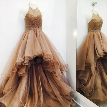 Sexy Tulle Prom Dress, Crystal Beading Long Evening Dress, High Low Prom Dresses