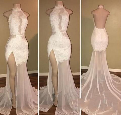 Sexy Backless Mermaid Prom Dress, Appliques Long Evening Dress