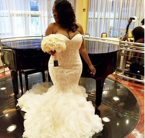 Sexy Sweetheart Neck Tulle Ruffles Wedding Dress, Appliques Beaded Bridal