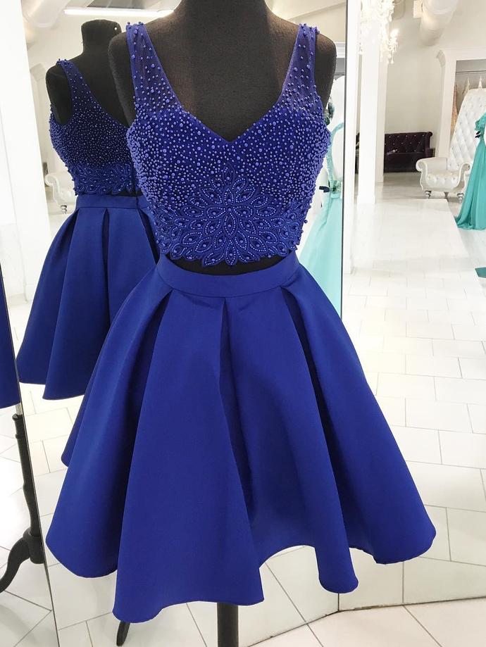 H58 Royal Blue Two Pieces Pretty Short/Mini Homecoming dress ,A-Line Homecoming
