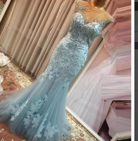 Sexy Blue Appliques Mermaid Prom Dress, Crystal Beading Long Evening Dress