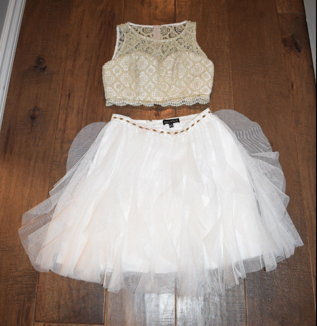 H60 Two Pieces Pretty Short/Mini Homecoming dress ,A-Line Homecoming