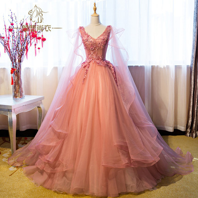 2018 Charming V Neck Prom Dress, Elegant Tulle Long Evening Dress