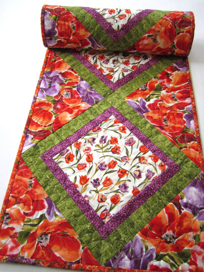 Table Runner Floral Tulips Quilted Handmade Runner Flowers Handmade Gifts Runner