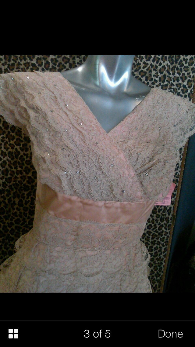 Vintage 1940's Romance Full Lace Dress W/Crystals On Chest