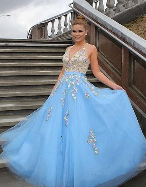 563cce30ed16 Light Blue Prom Dresses,Tulle Prom Gown,Applique Prom Dress,Formal Evening