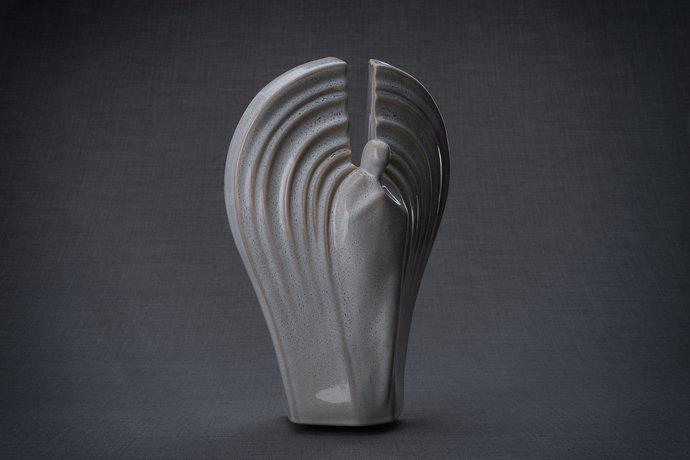 """Ceramic Art Urn for Ashes - """"Guardian"""" - Large - Beige Grey Melange"""