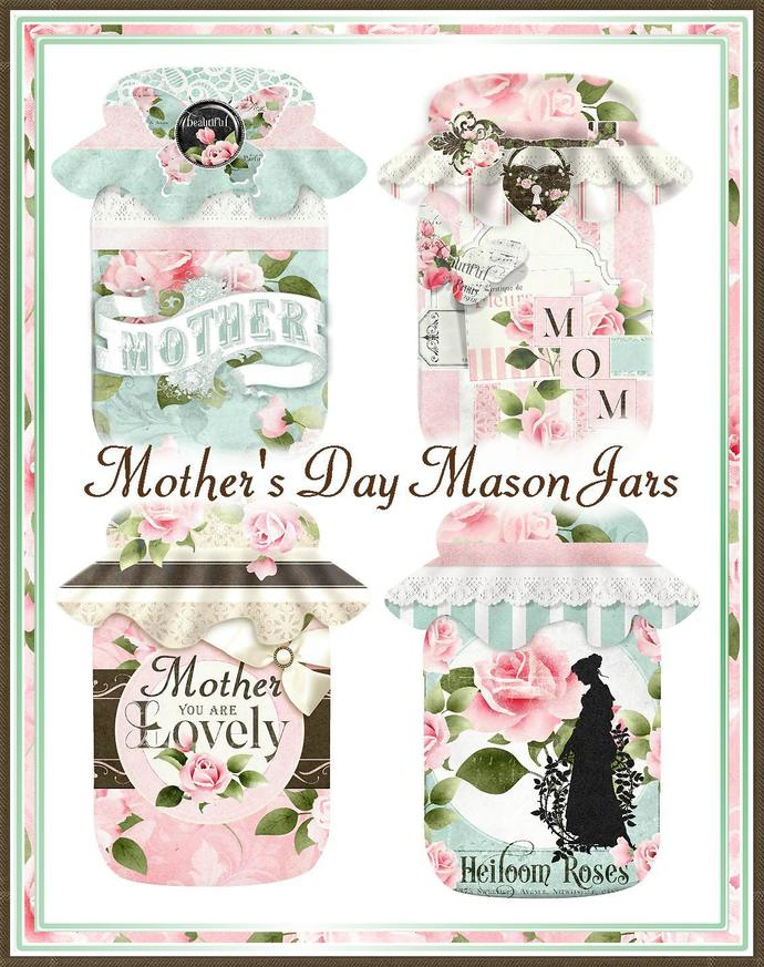 Cottage Chic Mother's Day Mason Jar Collage Tags - Digital Printable - INSTANT