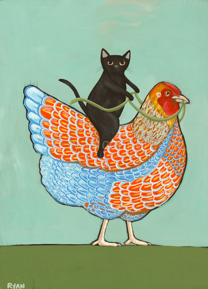 Black Cat And Blue Laced Wyandotte Chicken By Kilkennycat