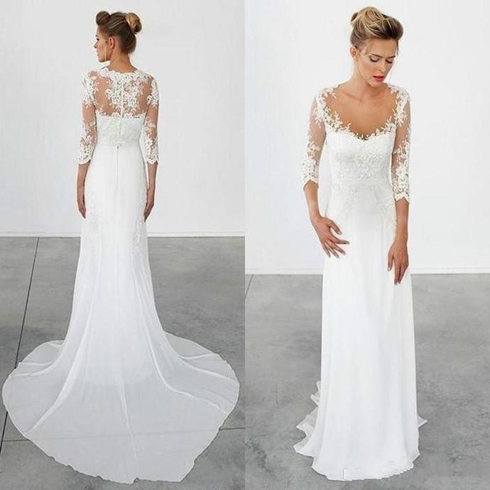 569fbf261c73a New Arrival chiffon 3/4 long sleeve lace simple cheap beach wedding dresses  with train
