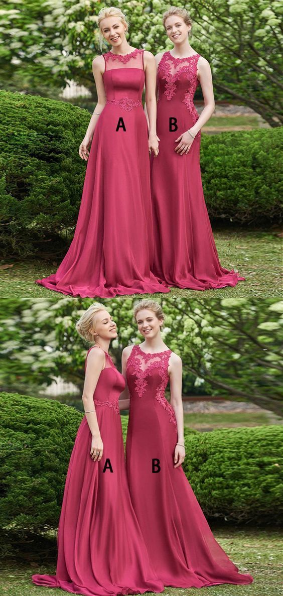 A-Line Bateau Sweep Train Dark Red Prom Dress with Appliques