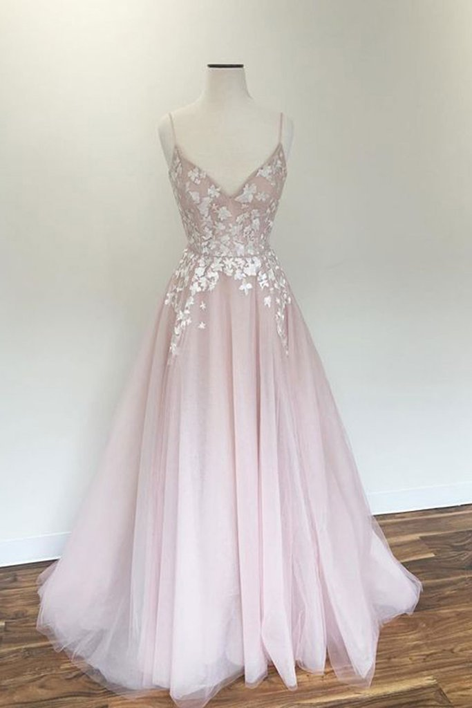 Light pink v neck tulle applique long prom by Miss Zhu Bridal on