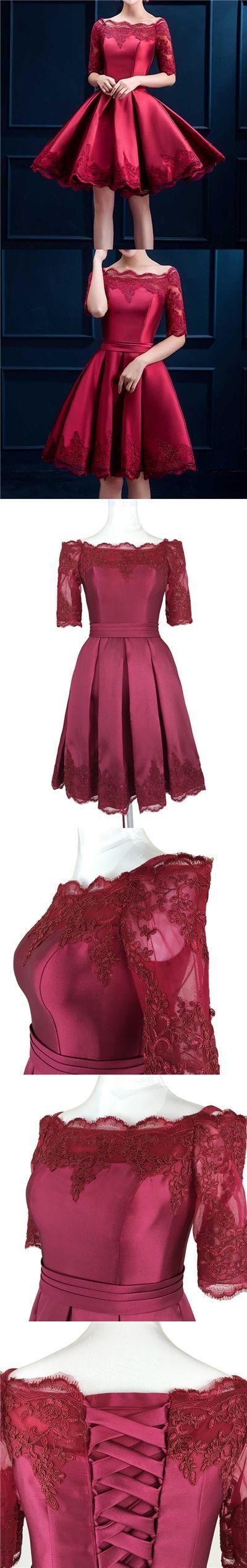 Homecoming Dress Off-the-shoulder Burgundy Short Prom Dress Party Dress