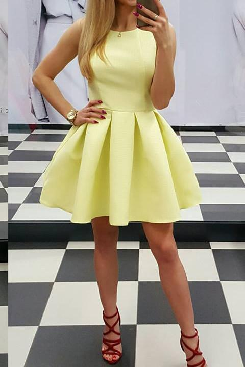 Simply Yellow Round Neck Sleeveless Homecoming Dress,Mini Party Dress