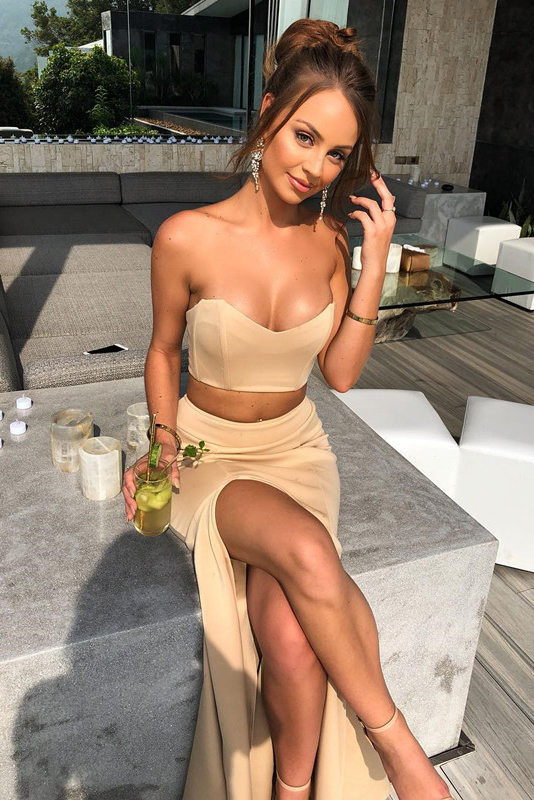 Sexy Sweetheart Two Piece Champagne Mermaid Long Prom Dress with Side Slit