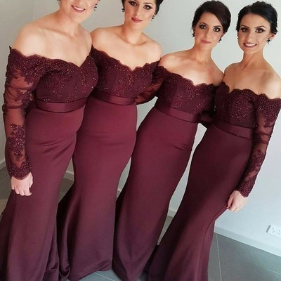 Charming Long Sleeve Appliques Beaded Burgundy Mermaid Bridesmaid Dress