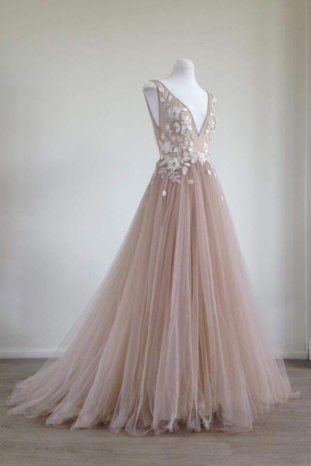 da38751006 Unique champagne tulle lace applique long by Miss Zhu Bridal on Zibbet