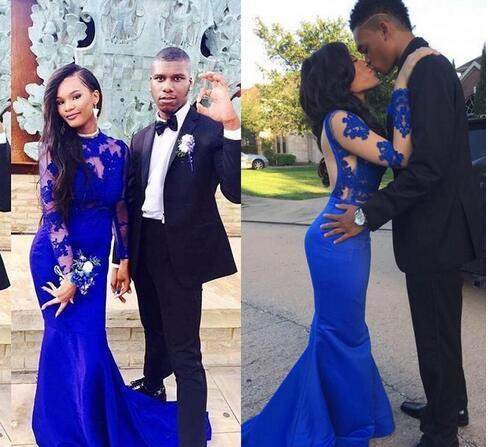 Charming Royal Blue Prom Dress, Sexy Long Sleeve Mermaid Evening Dress, Formal
