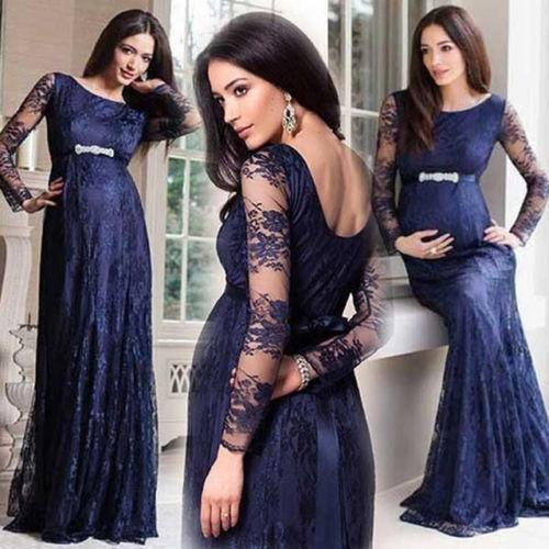 Lace Prom Dress, Pregnant Prom Dress, Navy Blue Prom Dress, Long Prom Dress,