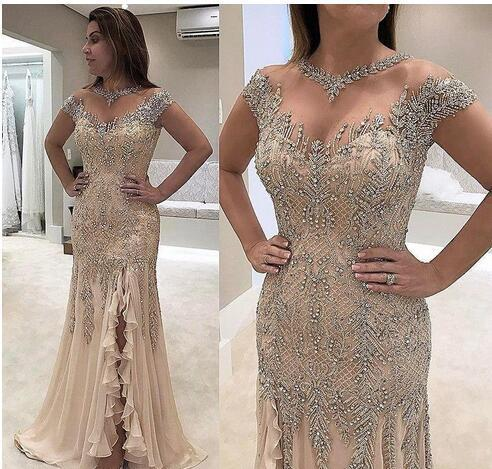Charming Prom Dress with Beaded, Sexy Cap Sleeve Evening Dress, Formal Dress