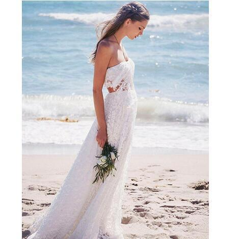Charming Backless Beach Wedding Dress, Sexy Lace Wedding Dresses