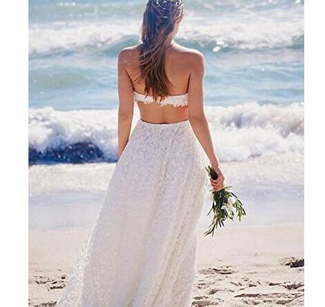 Charming Backless Beach Wedding Dress, Sexy Lace Wedding Dresses