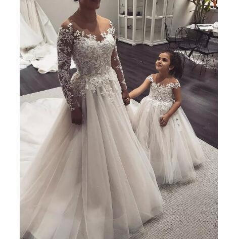 Charming Long Sleeve Appliques Tulle Wedding Dress, Sexy Bridal Dress