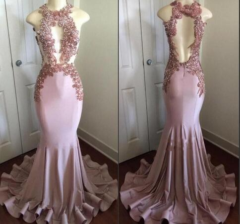 Charming Appliques Prom Dress, Sexy Long Mermaid Evening Dress, Formal Dress