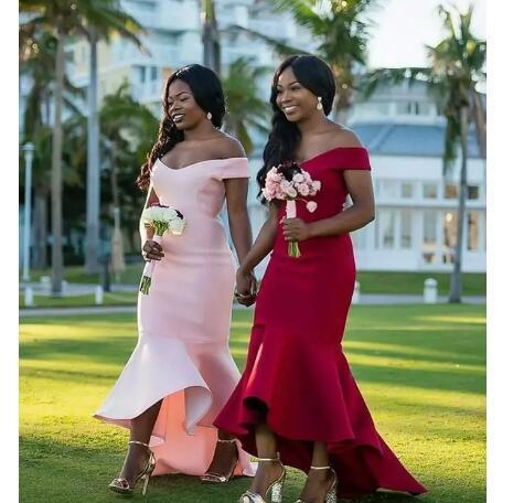 Charming Pink/Red Simple Mermaid Bridesmaid Dress, Sexy Wedding Party Dress