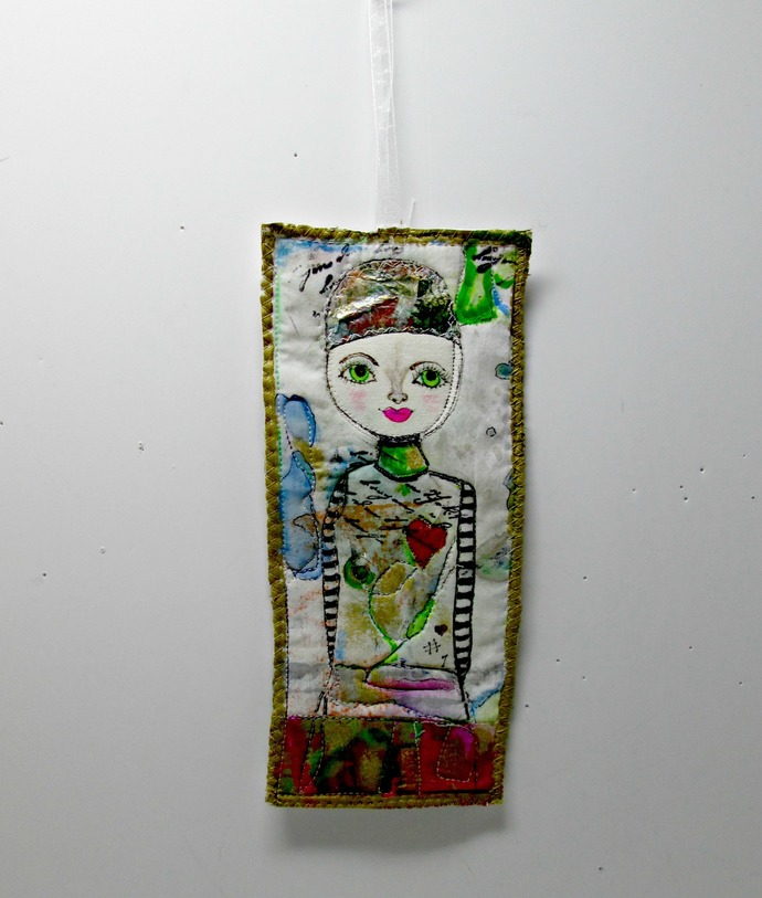 Small Whimsical Hand-painted Wall Hanging,  OOAK Quilted Textile Art, Small